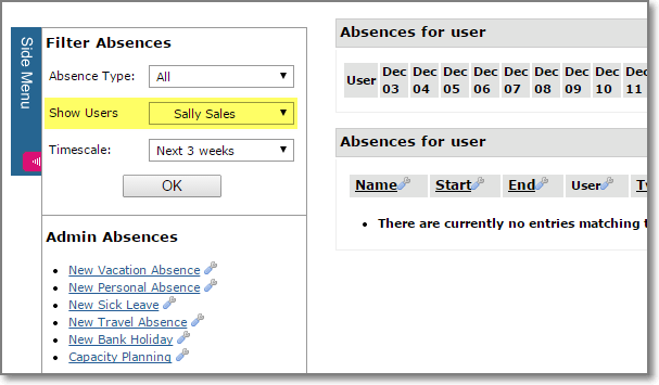 Absence Management - Select Users